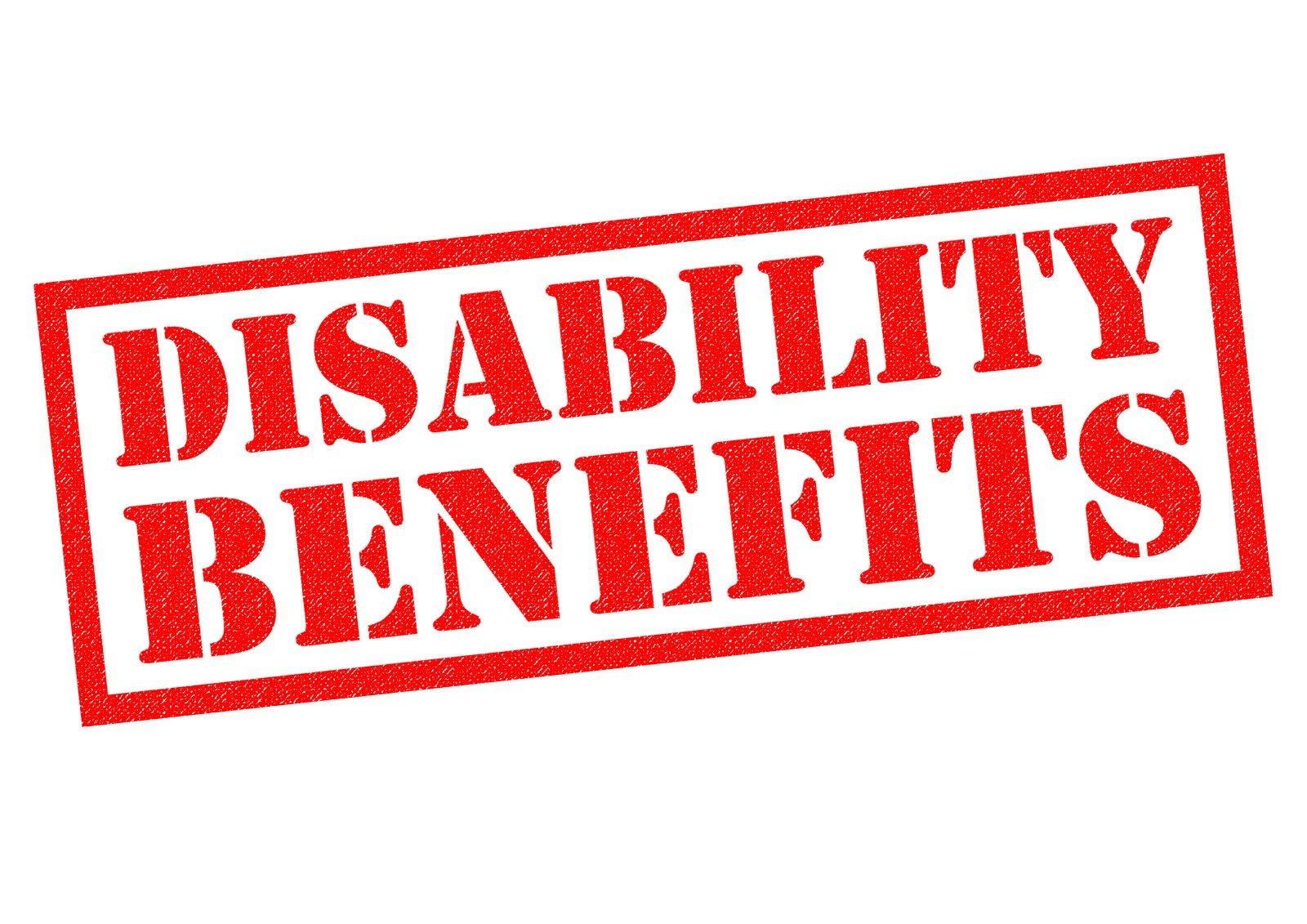 A Picture of Stamped Letters in Red that Read 'Disability Benefits'